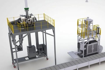 A mobile DeDuster (left) below a silo and next to it a bagging plant which is placed below another silo; in the next step the DeDuster can be moved towards the right, above this packaging machine.
